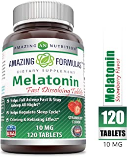 Amazing Formulas Melatonin Quick Dissolve - 10 Mg Tablets (Non-GMO) - Helps Fall Asleep Fast & Stays Asleep All Night - Helps Regulate Sleep Cycle - Calming & Relaxing Effect (120 Tablets, Strawberry)