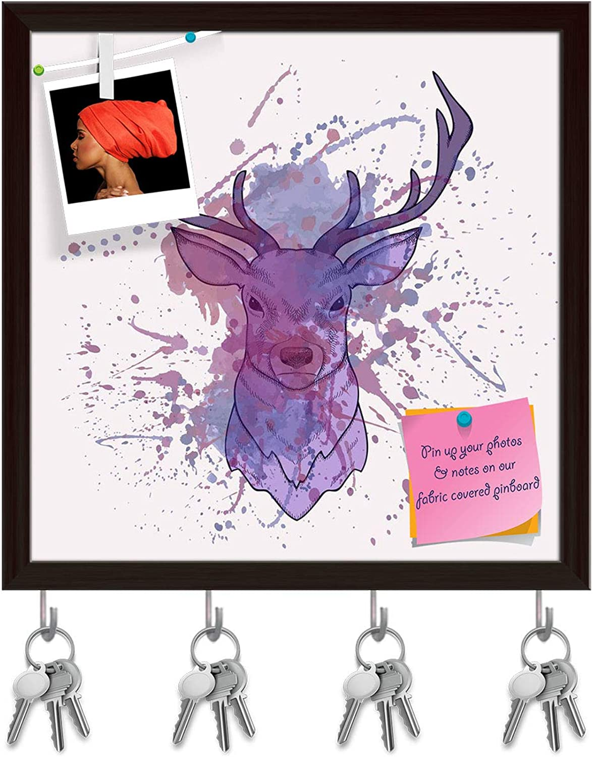 Artzfolio Deer with Watercolor D2 Key Holder Hooks   Notice Pin Board   Dark Brown Frame 20 X 20Inch
