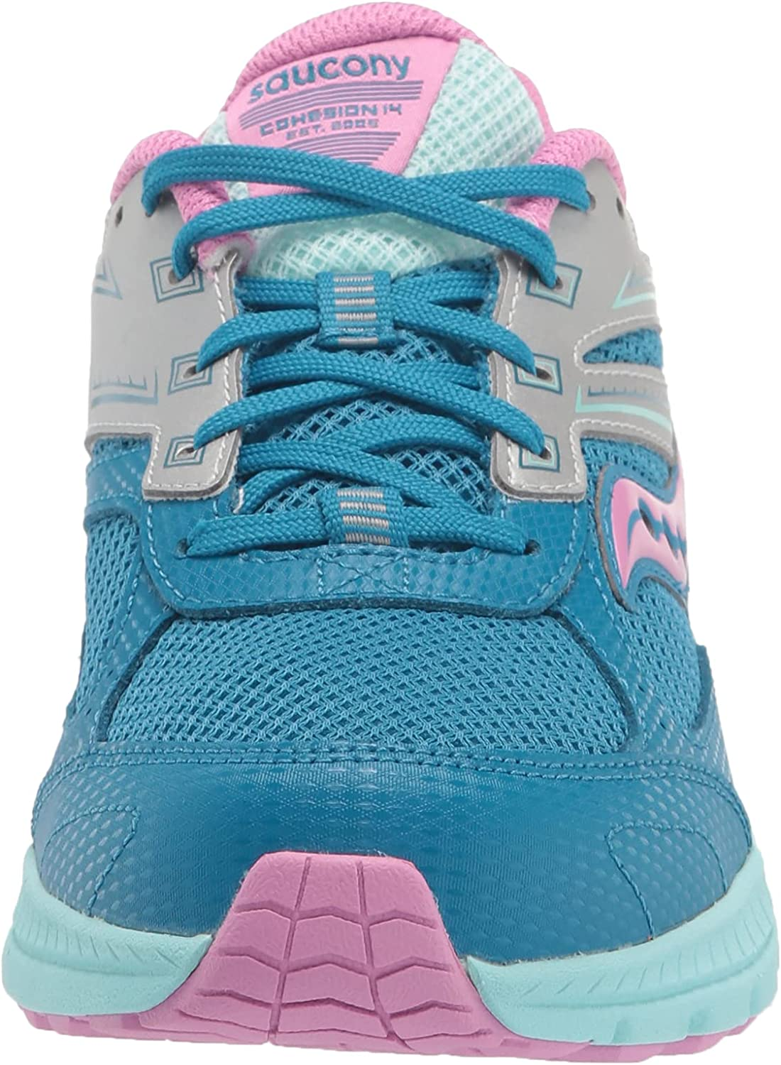 Saucony Cohesion 14 LACE to Toe Running Shoe, Turq/Pink, 5 Wide US Unisex Big_Kid
