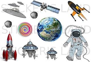 Stickers DÉCORATIFS Espace Fusee Etoile à découper (Planche à Stickers Dimensions 21x28cm en Papier ADHESIF Transparent)