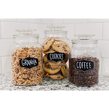 Godinger Airtight Glass Canisters Set of 3 - Round Clear Storage Containers with Sealed Lids, Chalkboard Jar Set of 3, Chalk Included – Perfect Housewarming Gift