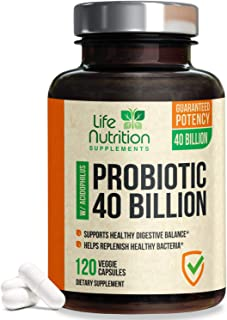 Probiotic 40 Billion CFU. Guaranteed Potency Until Expiration - 15x More Effective Patented Delay Release Lactobacillus Acidophilus - Made in USA - Digestive Health for Women & Men - 120 Capsules
