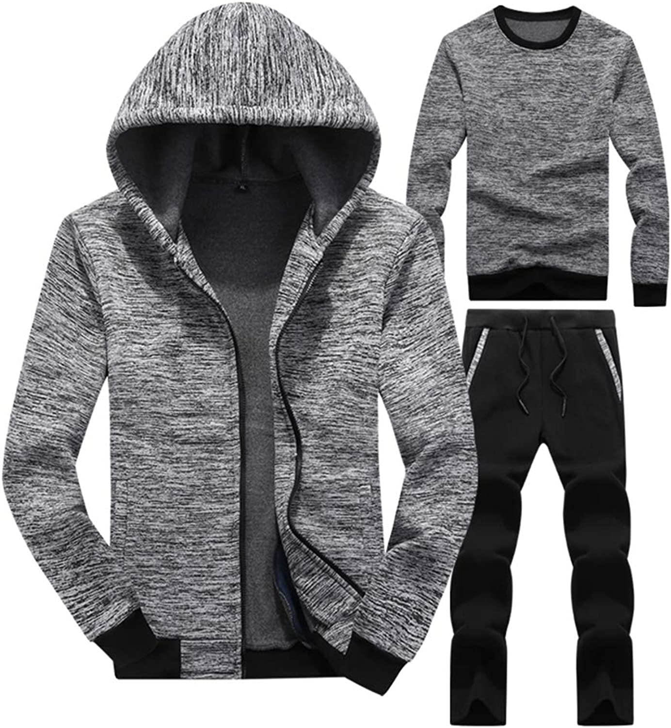 Dooping Men's Athletic Full-Zip Jogger Sweat Suit Sports Three Sets Casual Tracksuit Hat