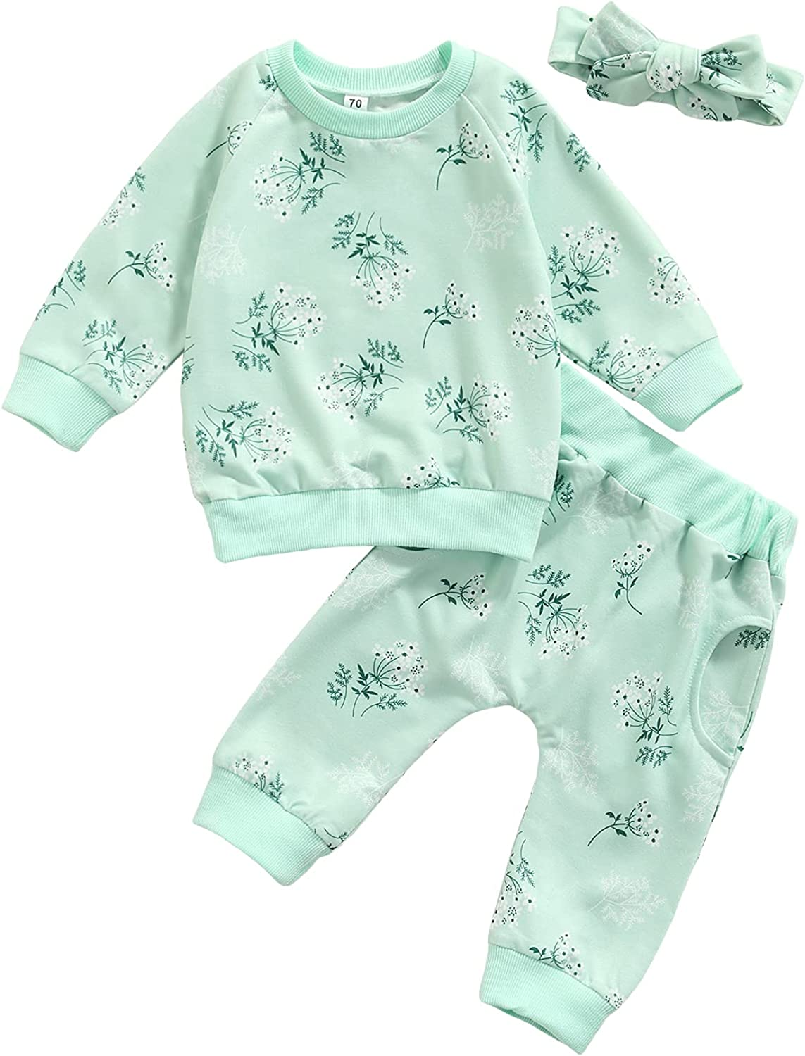 Newborn Baby Boy Girl Outfits Rainbow Floral Print Long Sleeve Sweatshirt Tops+Long Pants Infant Baby Clothes Set