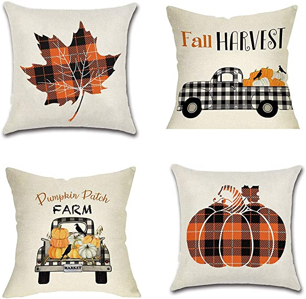 PSDWETS Fall Decor Pumpkin Maple Leaf Pillow Covers Set Of 4 Autumn Theme Fall Harvest Pumpkins Truck Farmhouse Decorative Throw Pillow Covers 18 X 18 For Fall Decorations