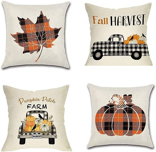 PSDWETS Fall Decor Pumpkin Maple Leaf Pillow Covers Set Of 4 Autumn Theme Fall Harvest Pumpkins Truck Farmhouse Decorative Throw Pillow Covers 18 X 18 For Fall Decorations