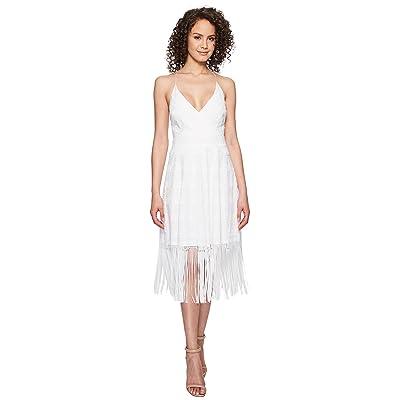 Nicole Miller Elina Burnout Fringe Party Dress (White) Women