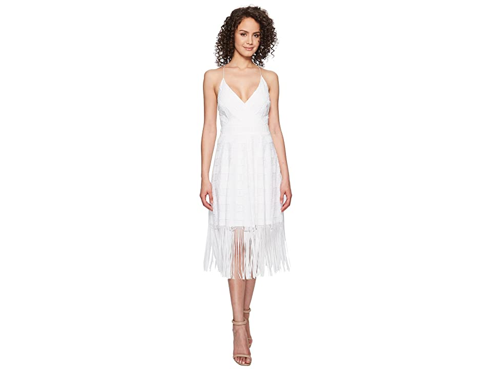 Nicole Miller Elina Burnout Fringe Party Dress (White) Women