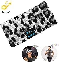 Bluetooth Headband Headphones,Wireless Sleep Headphones Bluetooth Music Earphones Sports Headband Headset for Calling, Workout, Yoga, Jogging, Leopard-Gray