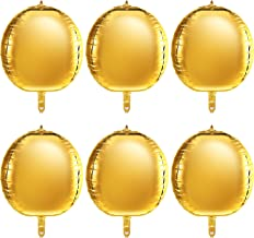 22 Inch 4D Balloons Large Foil Balloons Sphere Foil Balloons 4D Round Balloons for Birthday Wedding Baby Shower Party Decors (6 Packs, Gold)