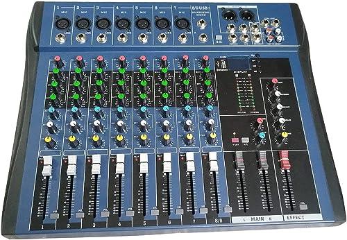 FEKETEUKI CT8 8 canaux Mixeur stéréo Professionnel Live USB Studio Audio Console Son Processeur d'Effet Vocal pour Dispositif d'ancrage réseau-Noir-1 Taille