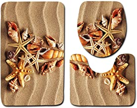Toilet Seat Covers - 3pcs Set Ocean Beach 3d Printed Anti Slip Bathroom Pedestal Rug Lid Toilet Cover Bath Mat - Seat Long Only Public Arabic Bulk Covers Hijab Uhoo2019 Scripture Unique Quraan