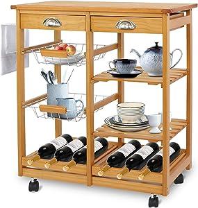 SUPER DEAL Multi-Purpose Wood Rolling Kitchen Island Trolley w/Drawer Shelves Basket