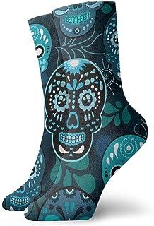 Adolescentes Poliéster Grunge Calaveras de azúcar mexicanas lindas Día de los muertos Calcetines atléticos florales Botas Zapatillas Calcetines Calcetines elásticos suaves y cómodos