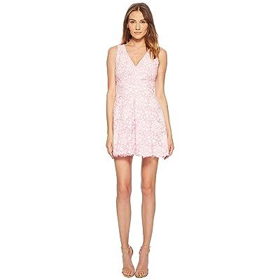 Boutique Moschino Lace V-Neck Mini Dress (Fantasy Print Violet) Women