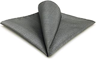 SHLAX&WING Grey Solid Silk Pocket Square for Men Business Hanky Classic Gray
