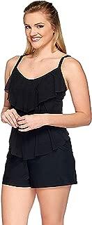 ST TROPEZ Mesh 3-Tiered Swimsuit Top (10, Black)