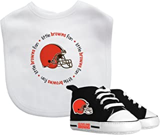Baby Fanatic Cleveland Browns Bib with Prewalker Gift Set, Team Colors