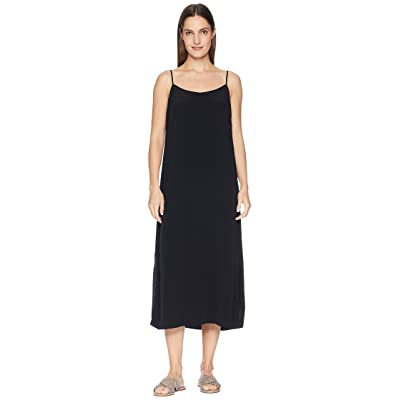 Eileen Fisher Tencel Viscose Crepe V-Neck Cami Dress (Black) Women