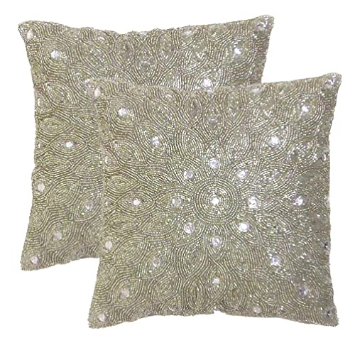 8b0dba4d5a51 Cotton Craft - 2 Pack - Peacock Hand Beaded Decorative Pillow Cover - 16
