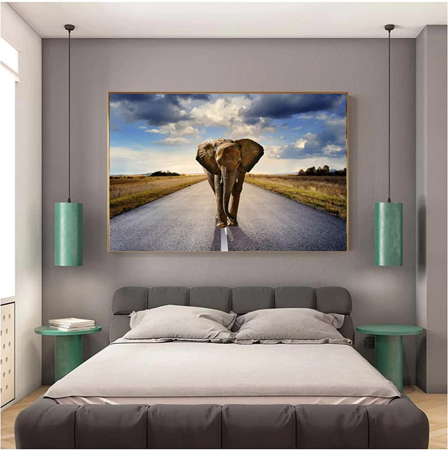 QIAOZ Free shipping anywhere in the nation Wall Art ,African Elephant Wild Sunset Animals 2021 model Landscape