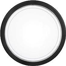 EGLO Plafondlamp Planet 1, 1-pits wandlamp, roestvrij staal, kleur: zwart, glas: wit gelakt, fitting: E27
