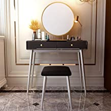 Dressing Table Nordic Dressing Table, Wrought Iron, Family Bedroom Furniture, with Mirror and Makeup Stool, White, Black, ...