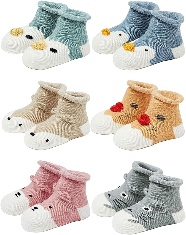 Baby Socks with Grip Non Skid Toddler Girls Cotton Ankle Sock Infant Boys Cute Animal Slipper Socks