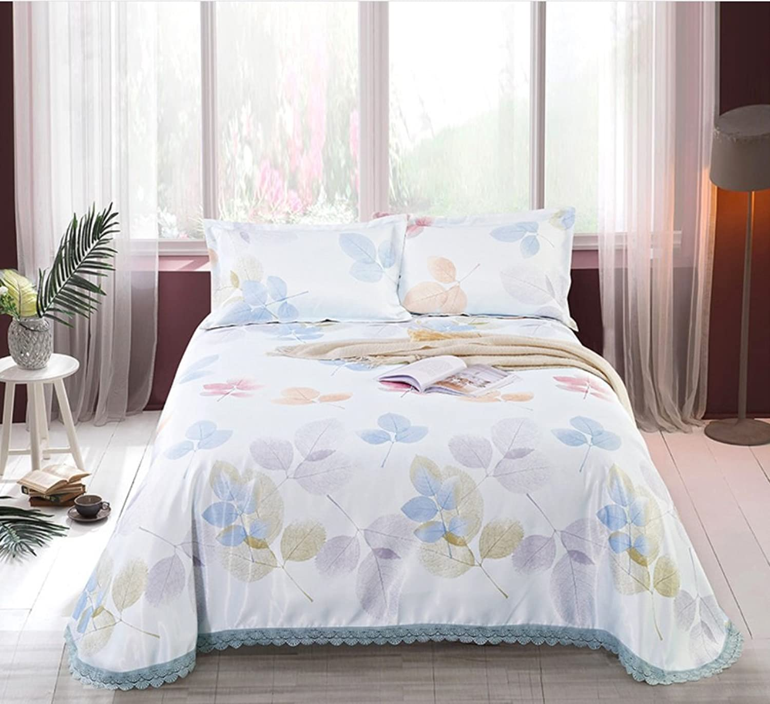 Washed Mat Sheet Linen Printing Lace Ice Silk Mat Three Sets ZXCV (color   7, Size   250  250cm)