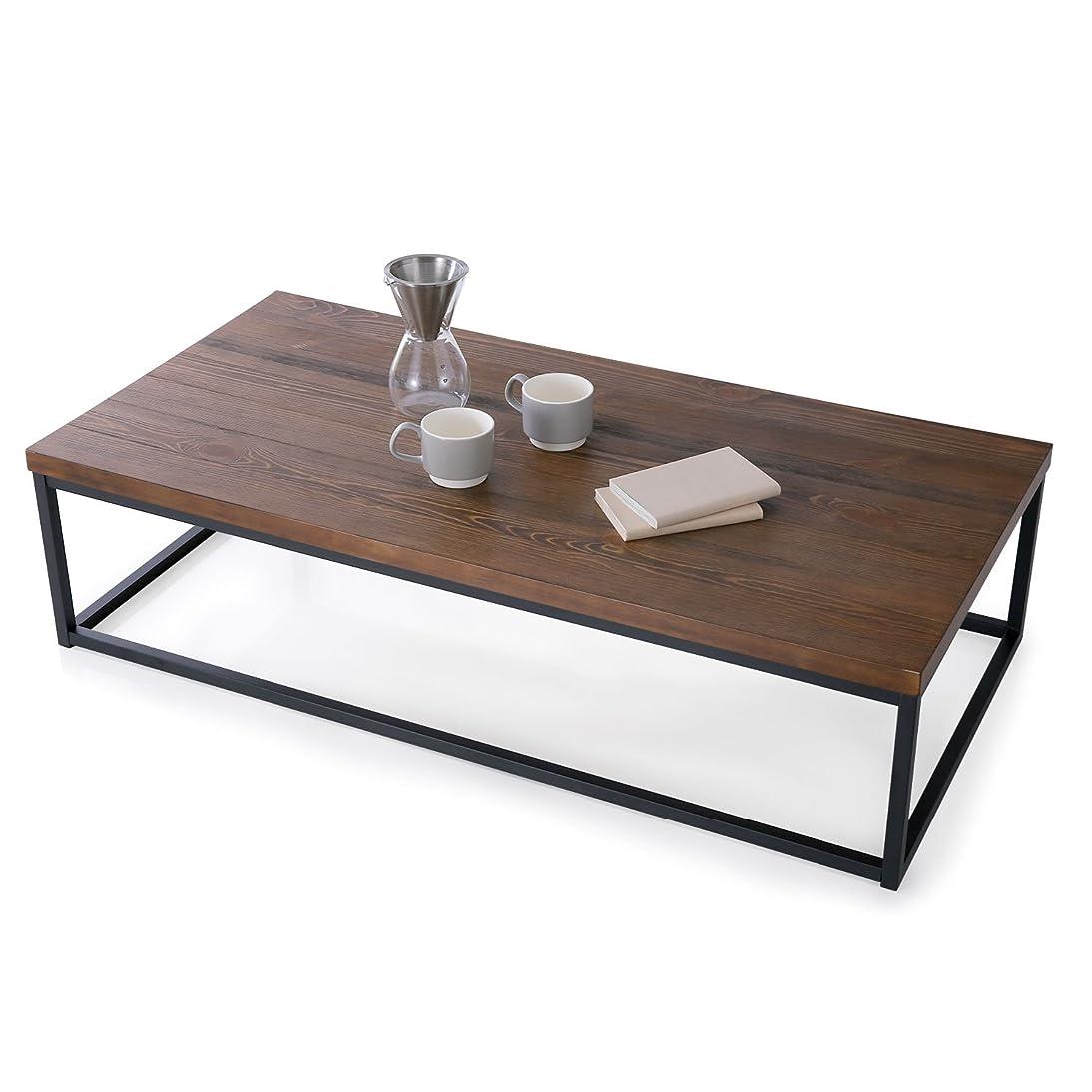 懐黙小麦粉LOWYA (ロウヤ) テーブル ローテーブル パイン材 突板 スチール脚 センターテーブル コーヒーテーブル 長方形 ダークブラウン おしゃれ 新生活