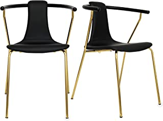 FUNCASH Kitchen Dinette Dining Room Chair Set of 2 Furniture Golden PU Leather Backrest Metal Legs