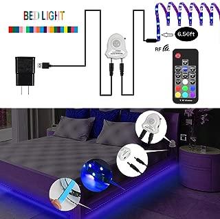 LEHOU Motion Bed Light LED Strip, 6.56ft Motion Sensor Night Light Bedside Lamp Illumination RGB Color Include Warm Color, Auto Shut Off Timer for Kitchen Cabinets Bedroom Under Bed Lights
