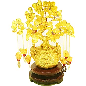 Pan source Feng Shui Citrine/Citrine Money Tree and Citrine Tree, Faucet Crystal Tree/Chinese Dragon Fortune Crystal Tree/Gift Tree … (Yellow)