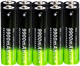 Flashlight Headlamp Batteries,10x 18650 Battery Li-ion 9900mAh 3.7 V Rechargeable Batteries