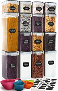 Airtight Food Storage Containers 15-Piece Set, Kitchen & Pantry Organization, BPA Free Plastic Storage Containers with Lid...