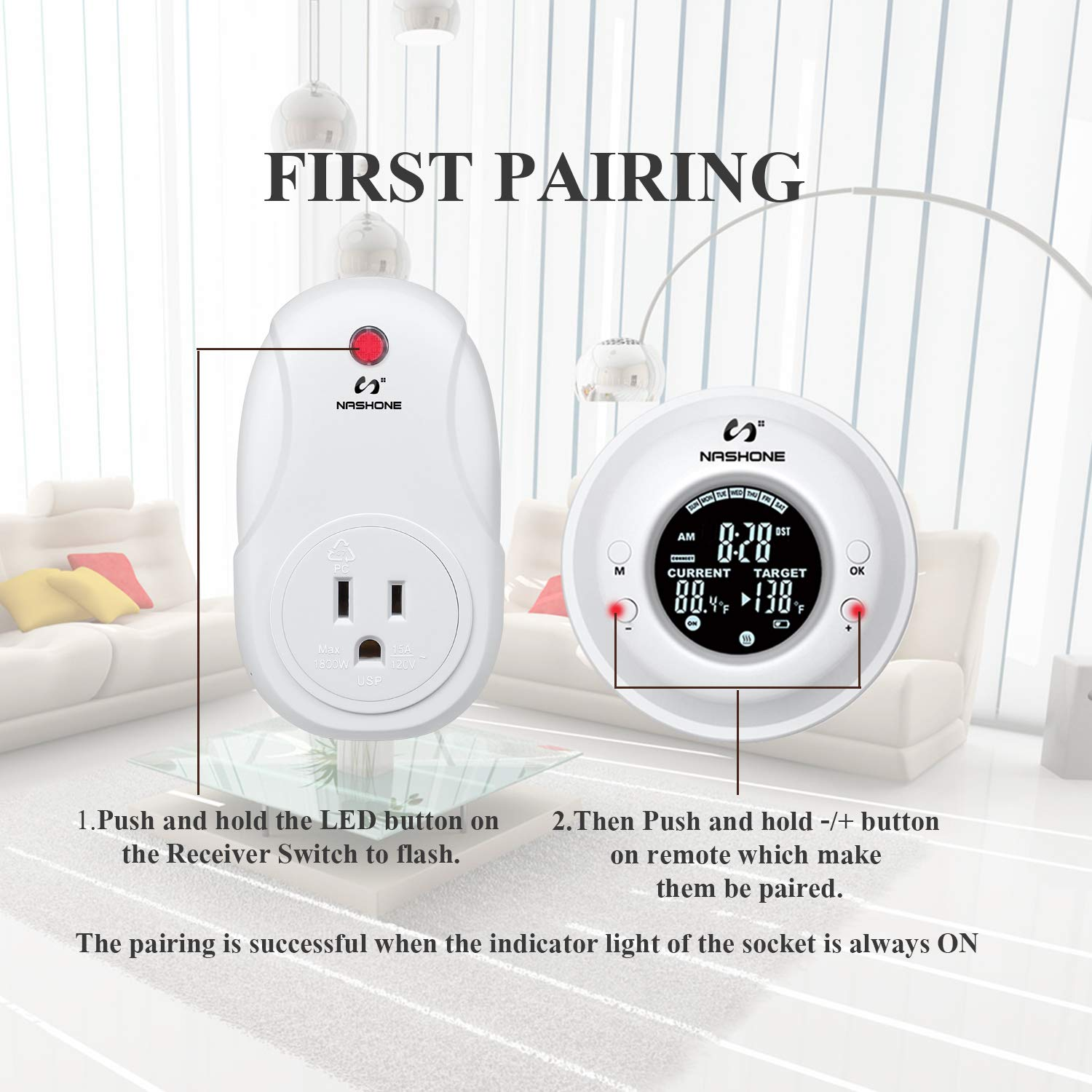 Nashone Temperature Controlled Outlet,Digital Wireless Thermostat Built in Temp