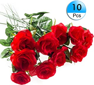 10Pack Artificial Rose Silk Flower Red Roses Bouquets Real Looking Fake Rose Halloween Wedding Party Home Garden Décor
