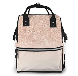 Rose Gold Faux Glitter Print Diaper Bag Backpack,Multi-Function Maternity Nappy Bags For Travel,Large Capacity,Waterproof,...