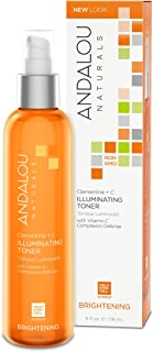 Andalou Naturals Clementine + C Illuminating Toner, 6 Fl oz, Facial Toner Helps Hydrate & Balance Skin pH, For Clear, Bright Skin