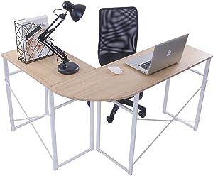 WOLTU® bureau TSG24 L-vorm hoekbureau hoekbureau computertafel bureautafel werktafel, van hout en staal, 83x40x72,5 & 63x40x72,5cm(BxDxH), hout