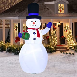 Doingart Lighted Inflatable Snowman Christmas Decoration - 6.5ft Blow Up Snowman with Hat and Built-in LED Light for Christmas Party Yard Garden Decoration