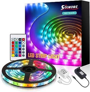 LED Ruban 5M, SOLMORE Bande LED RGB avec Télécommande IR, Bande Lumineuse 16 Couleurs et 4 Modes, Lumière Bandeau LED Aut...