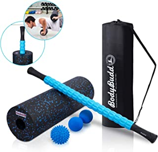BodyBudd 18 Foam Roller Set with Muscle Roller Stick, Large Peanut Ball & Firm Spiky Ball in Carrying Case, Complete Massage Kit for Myofascial Home Massager & Muscles Deep Tissue Pain Relief