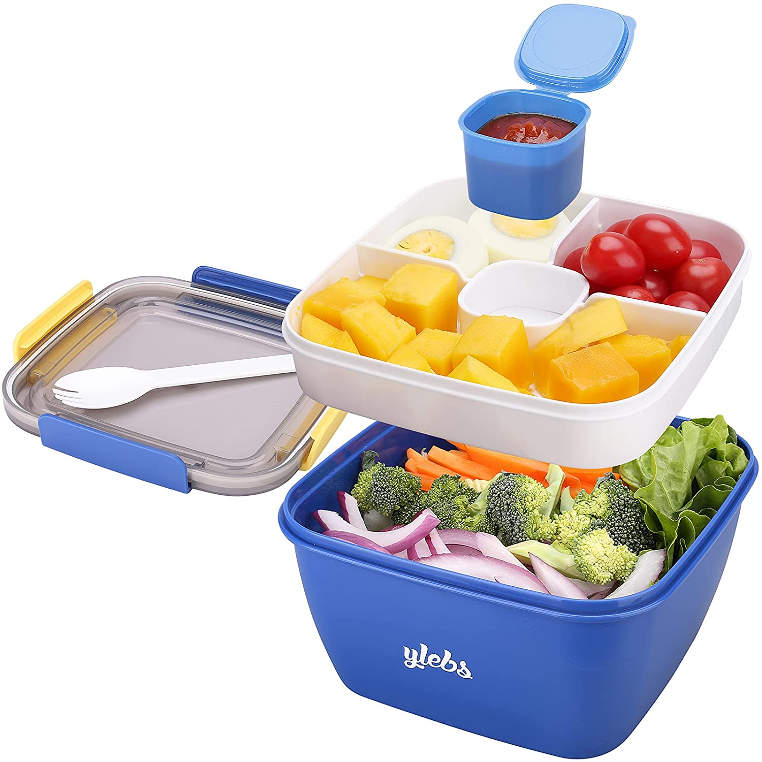 Bento Box Salad Lunch Containers with Compartments,Salad Bowl with Bento-Style Tray and Dressing Sauce Container,Leak-Proof Lunch Box for Kids & Adults,BPA-Free and Food-Safe Materials(Blue)