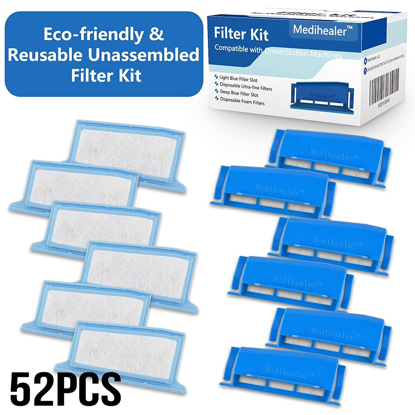 CPAP Filters Kit Fit Respironics Dreamstation 52 Pack:6 Assembled Filters+ 20 Ultra-fine+20 Foam-Pollen & Hypoallergenic,Put Filter into Frame Kit Fit Philips Dreamstation-Medihealer Filters Supplies