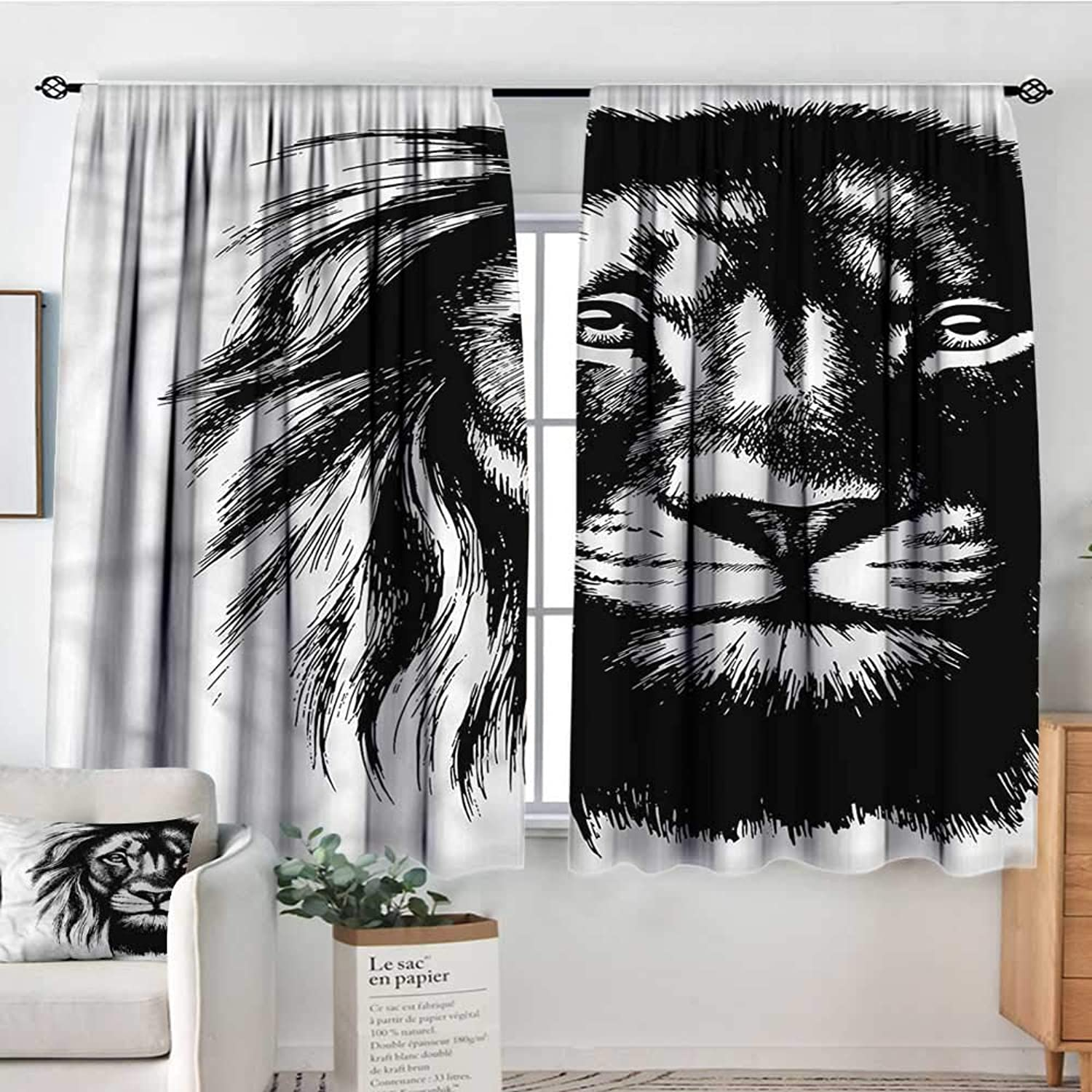 Lion,Modern Kids Curtain Wild African Safari Life 42 X63  Decorative Curtains for Iving Room