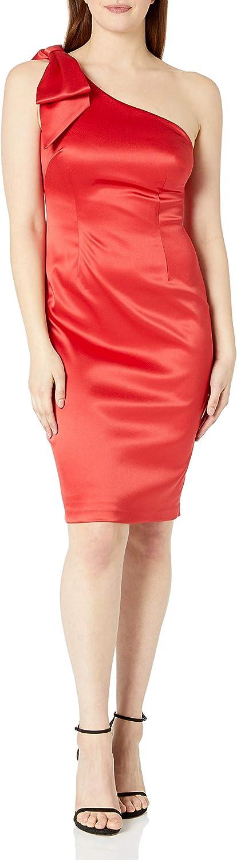 Eliza J Women's One Shoulder Sleeveless Sheath Dress with Bow