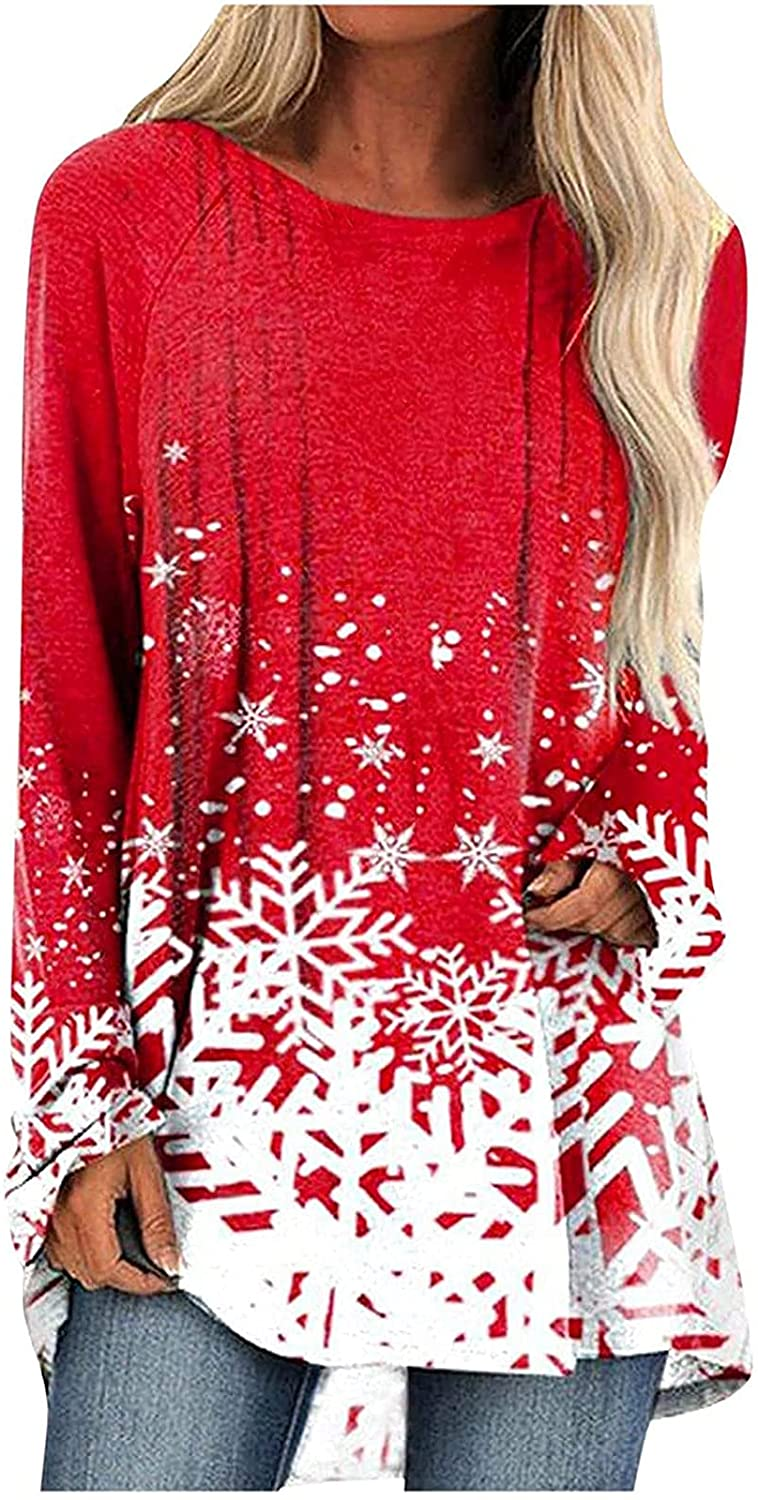 Women Tops Christmas Shirts Snowflakes Print Graphic Tees Trendy Blouse Casual Comfy Tunic Crew Neck Pullover Jumper