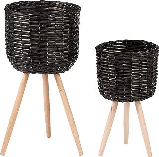 Cooper & Co. Willow Pot Planter Set of 2 Pieces, Black