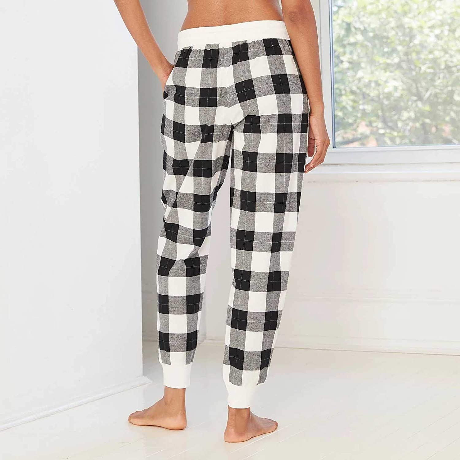 Sleep /& Lounge PJ Bottoms Comfy Soft Pjs Casual Drawstring Trousers Plaid Pajamas Pants for Women with Pockets